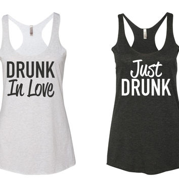 DRUNK In Love & Just DRUNK  - Racerback, Tank Top - Heather White & Vintage Black