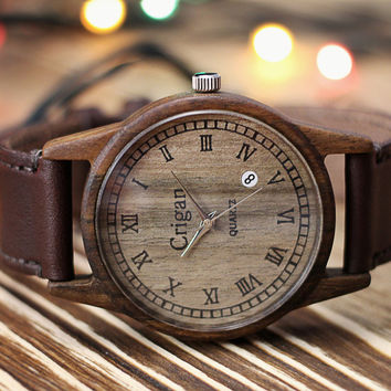 Wooden watch, mens wristwatch, walnut