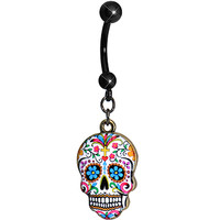 Faith and Flowers Sugar Skull Dangle Belly Ring | Body Candy Body Jewelry