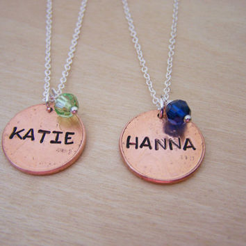 Lucky Penny Stamped Personalized Name & Birthstone Sterling Silver Necklace / Gift for Her