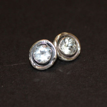 silver solitaire earrings - white topaz earrings - faux diamond solitaire earring - CZ stud earring - gemstone stud earring - oxidized studs