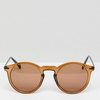ASOS Round Sunglasses With Metal Arms in Brown at asos.com