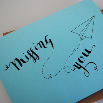 Paper Airplane Card, Missing You, Calligraphy