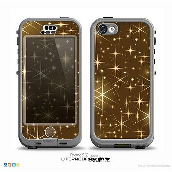 The Golden Glowing Stars Skin for the iPhone 5c nüüd LifeProof Case