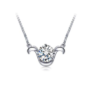 Stylish Silver Plated Aries Pendant Necklace For Women