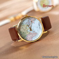 70% OFF, World Map Watch, Unisex Watch, Leather Watch ,World Map Watch Mens wrist watches Women Watches Christmas Gift,best sales,(Y005)