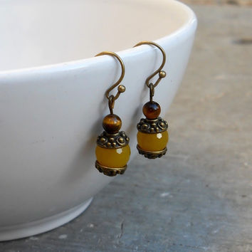 Joy, Genuine Yellow Jade Gemstone Earrings