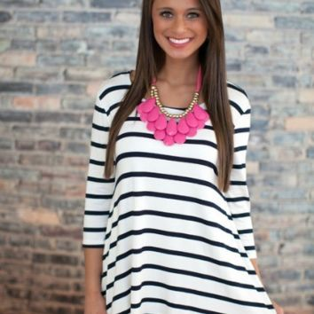 Stripe Long Sleeve Loose Dress
