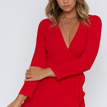 Step Up Long Sleeve Dress Dress Red