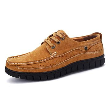 Men Breathable Suede Thick Soles Lace Up Flat Casual Shoes