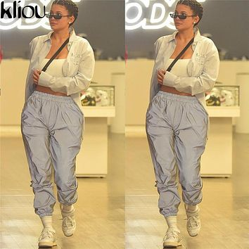 Kliou 2018 New Reflective Gray Solid Pants With Pockets Women Fashion Harem Pants High Waist Ankle-Lengh Trousers Female Pants