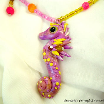 Pink yellow polymer clay seahorse necklace, Sea horse mermaid jewelry, Underwater creature pendant, Natural freshwater pearl,  agate beads