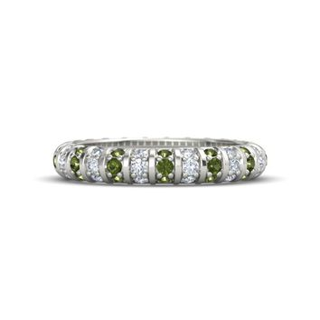 Platinum Ring with Green Tourmaline & Diamond