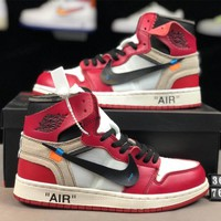 AIR JORDAN 1 x OFF-WHITE Joint high-top men's and women's sports shoes Red