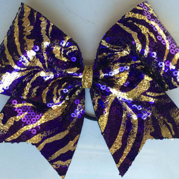 Cheer Bow - Purple and Gold Zebra Tiger Sequin
