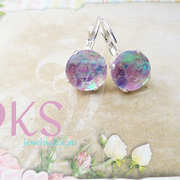 Cotton Candy, Handmade Glass, Confetti Cabochon Earrings, 12mm, Rainbow, Sparkle, Drops, DKSJewelrydesigns, FREE SHIPPING