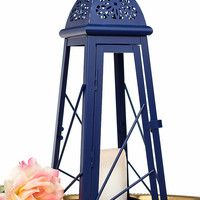 Navy Blue Candle Holder/ 13'' Scheherazade Exotic Lantern/ Moroccan Decor/ Table Centerpiece