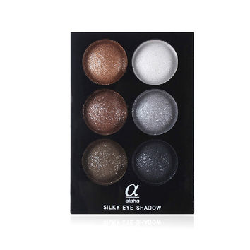 Alpha 6 Colors Makeup Cosmetic Glitter Eye Shadow Plate