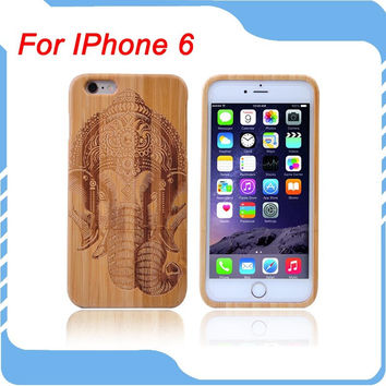 For Iphone 6 case 4.7inch Genuine Natural Bamboo Wooden Phone Case Elephant Pattern Hard Back Cover  Wood Case