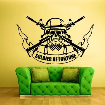 Wall Vinyl Decal Sticker Bedroom Kids Decal Soldier of Fortune Skull Guns  z372