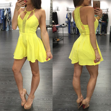 Yellow Cit Out Halter Neck Sleeveless Romper