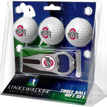 Ohio State Buckeyes 3 Ball Gift Pack with Hat Trick Divot Tool