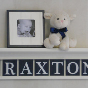 "Navy Nursery Wall Shelving - Baby Boy Nursery Wall Art - 30"" Linen White Shelf 7 Painted Wall Tile Letters - BRAXTON"