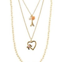 Gold Layered Charm & Pearl Necklace by Charlotte Russe