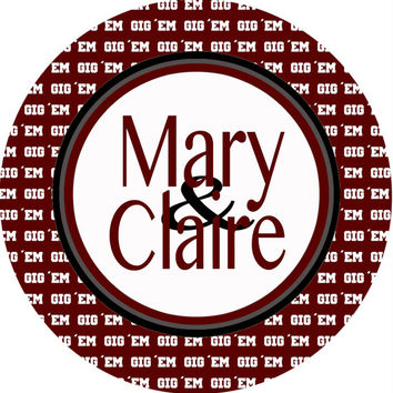 Texas A&M Personalized Dorm Room Signs.Graduation or sorority gifts. Monogram or full name.Roommate sign too!  4 backgrounds