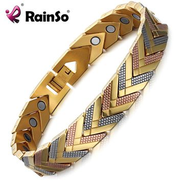 Rainso Health Magnetic Bracelet Bangle For Women 2017 Hot Sale Stainless Steel Bio Energy Bracelet Gold Fashion Jewelry