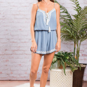 Southern Nights Romper, Blue