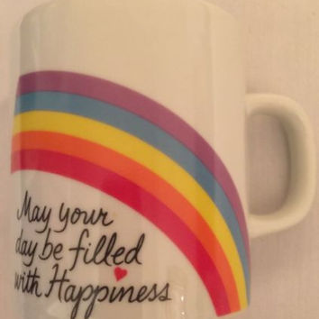 Valentine's Vintage Coffee Mug Rainbow 1984 May Your Day Be Filled w/ Happiness