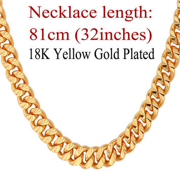 "U7 Gold Necklace With ""18K"" Stamp Trendy 18K Gold Plated 7 MM 18/22/26 Inches Long Cuban Link Chain Necklace Men Jewelry N383"
