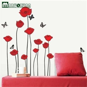 2015 Fashion Bright Red Corn Poppy Flower DIY Wall Sticker Wallpaper Stickers Art Decor Mural Room Decal Home Decoration