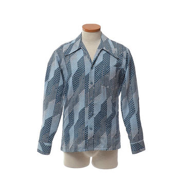 Vintage 70s Geometric Disco Shirt 1970s Paul Howard California Atomic Blue Boogie Nights Saturday Fever Pimp Prom Dance Party Shirt / Mens S