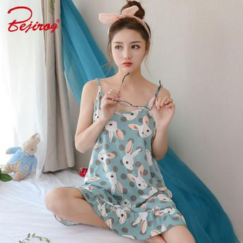Bejirog 2018 Sleeveless Sleepwear Sexy Lingerie Pijamas Female Nightgowns Cotton Sleepshirts Nightdress Women Nighties Summer