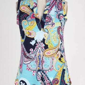 (pre-order) Colorful Navy Paisley Sleeveless Top