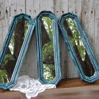 Shabby Chic Mirrors, Ornate, Tiffany Blue, Black, Hollywood Regency, Set of 3, Homco