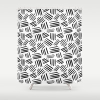 black mudcloth Shower Curtain by Sylvia Cook Photography