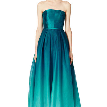 ML Monique Lhuillier Ombre Teal Dress