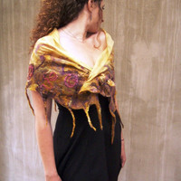 Mustard felt luxury silk fringes feminine scarf, Christmas gift for women