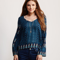 Long Sleeve Ikat Retro Top