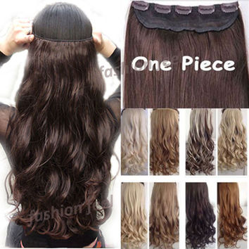 "18-28"" 45-70CM 100% Real Natural Hair Extention 3/4 Full Head Clip in Hair Extensions Curly/Curly US UK Fast SHIP"