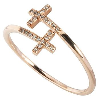 0.06 ct. t.w.  Diamond Ring in Solid 14K Pink Gold Cross