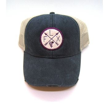 Finger Lakes Hat - Black Distressed Snapback Trucker Hat - New York Arrow Compass