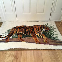 Large Latch Hook Rug, Bengal Tiger Wall Hanging,  Woven Boho Wall Decor