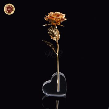Artificial Flower 24K Gold Plated Rose Flower In Heart Display Stand