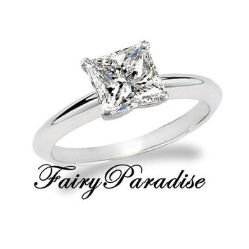 Art Deco 1 Ct (6 mm) Princess Cut man made Diamond Solitaire Engagement Wedding Promise Ring with gift box- made to order