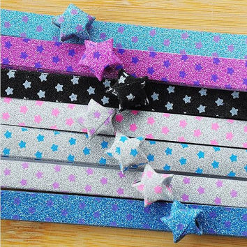 Folding Origami Star Paper/ Lucky Star Assorted / Favour Strips 2 Colors Mixed / STAR Glitter Bling Glow in the Dark 36 Stripes