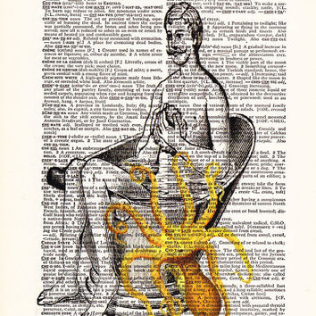 Bathing Man With Octopus-Dictionary Print Book Print Page Art-Upcycled Antique Book Page-Print On Dictionary Book Page-Buy 1 Get 1 Free